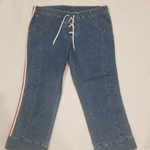 Tommy Jeans Womens Size 11 Denim Blue Lace Up Fly